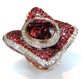 Ring with diamond, red sapphire & tourmaline from Zorab Creation