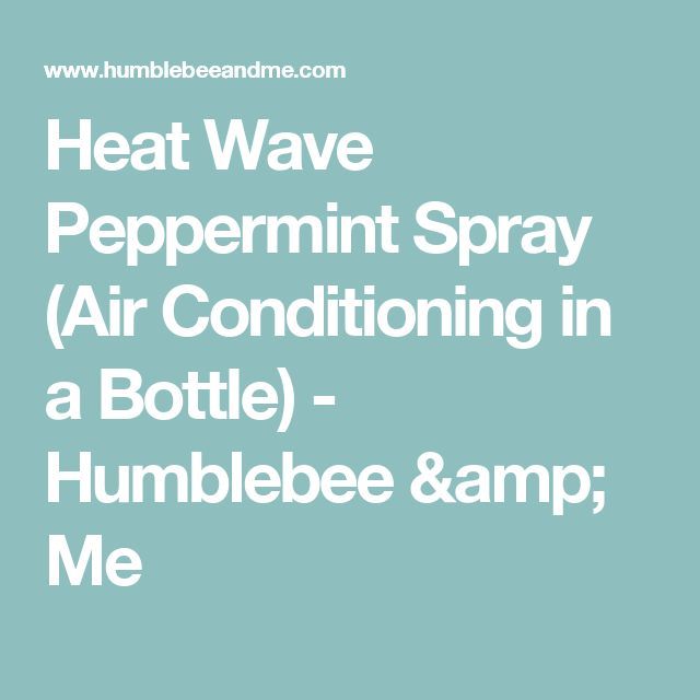 Heat Wave Peppermint Spray (Air Conditioning in a Bottle) - Humblebee & Me