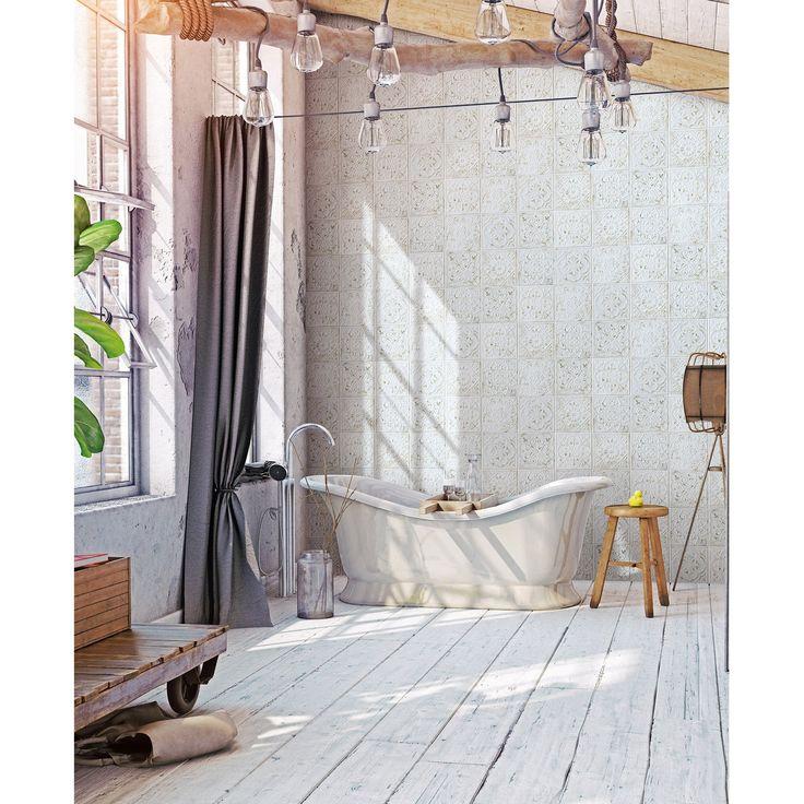Carrelage mur et sol blanc mat l.20 x L.20 cm, Victoria | Leroy Merlin | Ciment blanc, Carreau ...