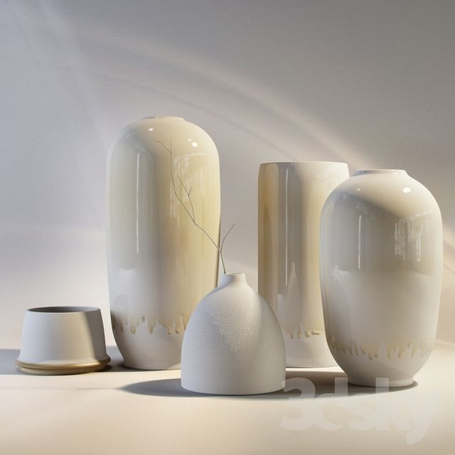 """15_large ceramic vases on raise portion of fireplace surround.  Largest should be 18"""" tall"""