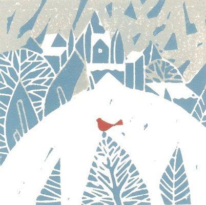 Snow Bird Print -Linocut- Original Hand Pulled Block Print -Winterland - Mid Century Modern Inspired Art