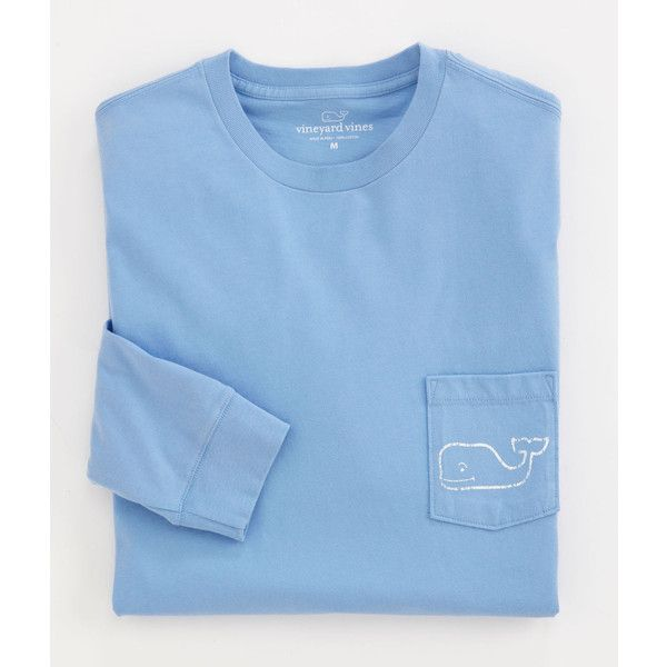 Vineyard Vines Whale Logo Long Sleeve Pocket Tee ($42) ❤ liked on Polyvore featuring tops, t-shirts, shirts, vineyard vines, long sleeve shirts, long sleeves, blue t shirt, long sleeve pocket tee, long sleeve cotton shirts and cotton t shirts