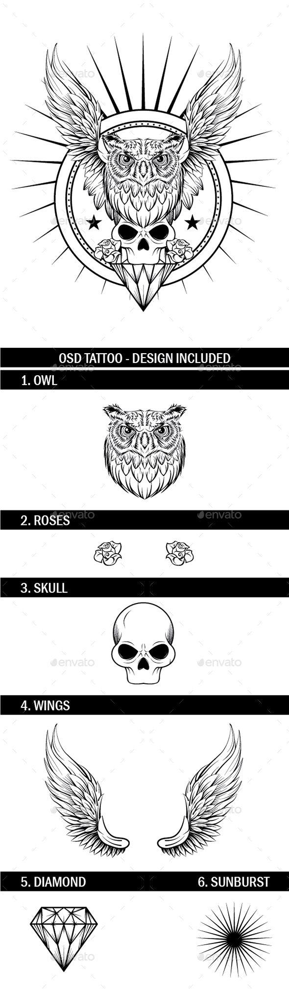 Owl and Skull Tattoo - Tattoos Vectors