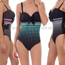 Monokini donna costume da bagno intero push up mare piscina righe pois B6011