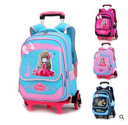 Brand kids rolling backpacks for school Children Travel Luggage Trolley bag on wheels Carton Trolley Suitcase in School Mochilas