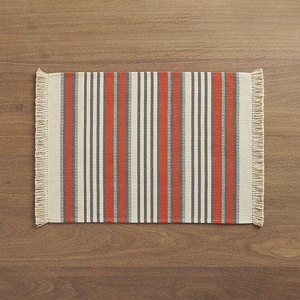 Aspen Stripe Orange Placemat  | Crate and Barrel