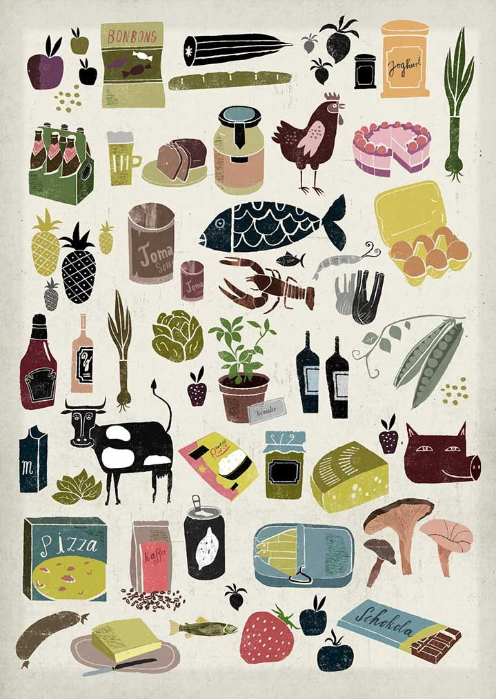 Martin Haake | Illustrators | Central Illustration Agency ( could use idea of lobster , mushrooms , garden veggies on a quilt). ( what about a state quilt , or trip region with sites and cites and food ect... Like the old souvenir towels)