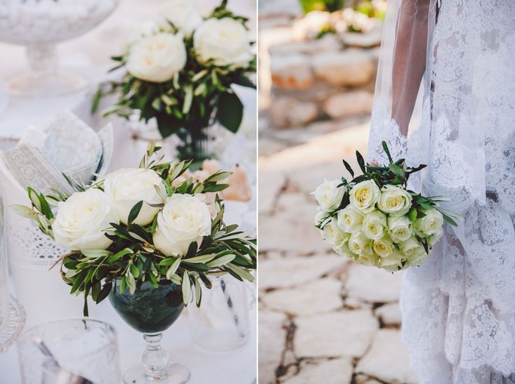 Elegant bridal bouquet made of white roses and olive brunches!