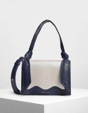 53e7a170e85c Dark Blue Knot Detail Handle Bag   CHARLES & KEITH   Bags   Bags ...