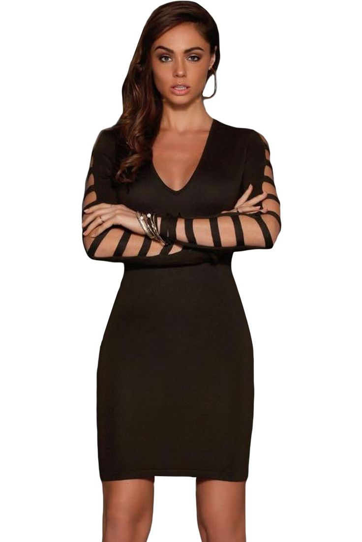 Black dress images - Chicloth Hollow Out Long Sleeves Little Black Dress