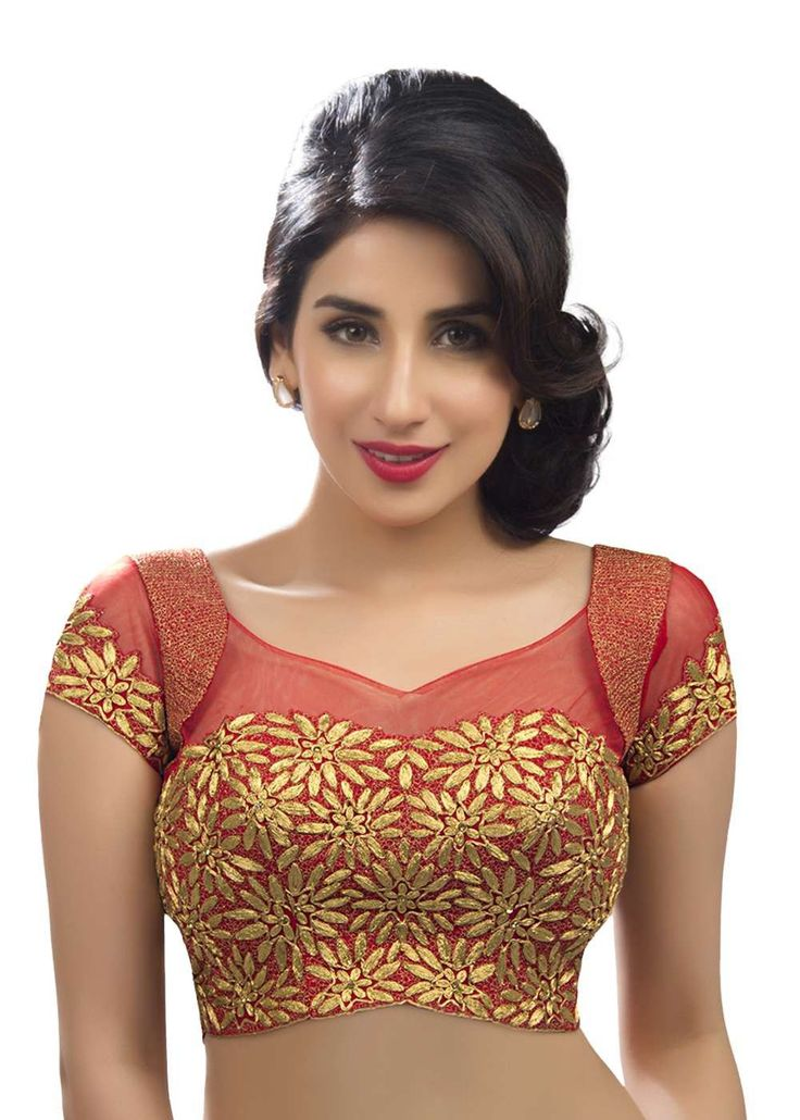 Nice neckline and work on blouse  Stunning Embroidered Red Ethnic Sari Blouse KP-94SL The intricate embroidery of rich gold zari work on this blouse gives it a very attractive and flirty look. With transparent net sleeves and fancy za