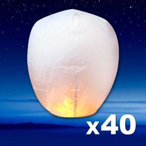 LANTERNE CELESTE BLANCHE X 40
