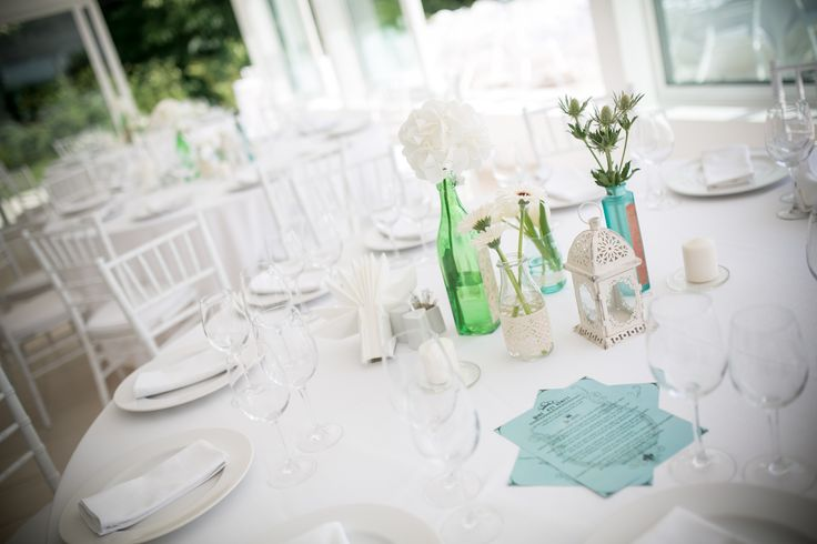 Outdoor summer wedding. Table setting.