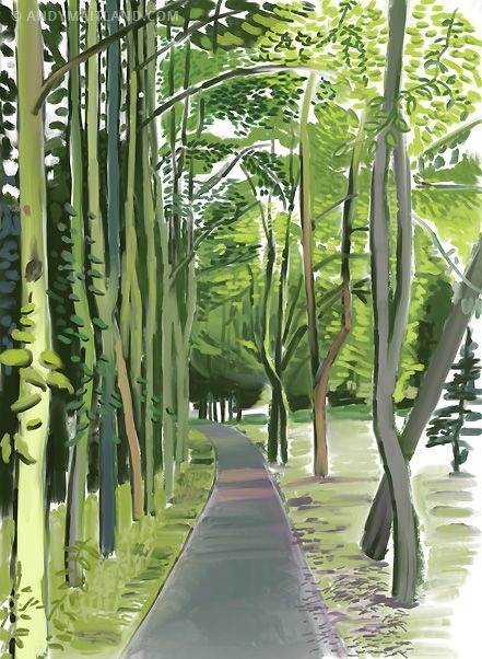 Hockney. Ipad drawing 2012. East Walk I, Priory Park Reigate, Surrey