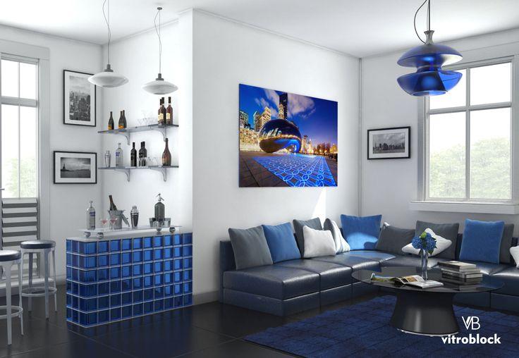 IDEAS MODERNAS! Otra muy buena aplicación de ladrillos de vidrio Mendini Zaffiro en barra de living. . . #Vitroblock #LadrillosDeVidrio #Zaffiro #Ideas #Living #Barra #Construcción #Obras #IdeasCasa