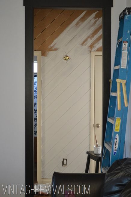 plank wall for bathroom - painted white with a blue/grey on the walls. Light colors
