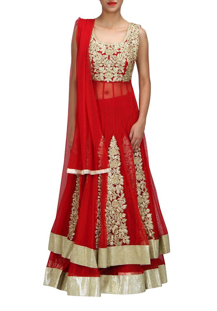 BRIDAL LEHENGAS : Red Net Wedding Chaniya Choli