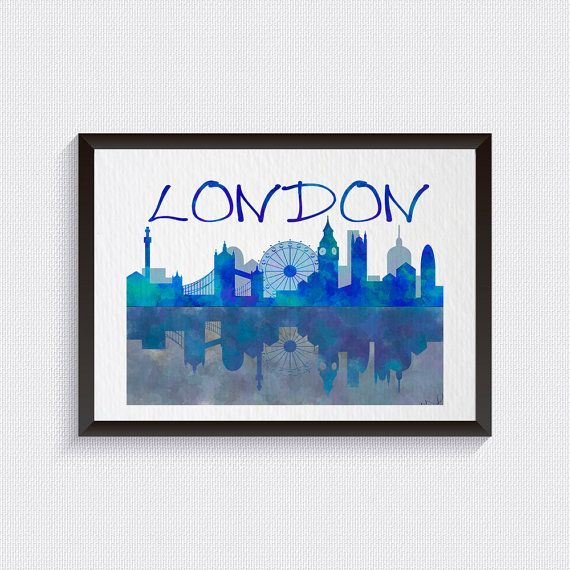 London print, watercolor art, Wall art, London skyline, cityscape watercolor, travel watercolor, England art, Blue Home Decor Fine art  {5}