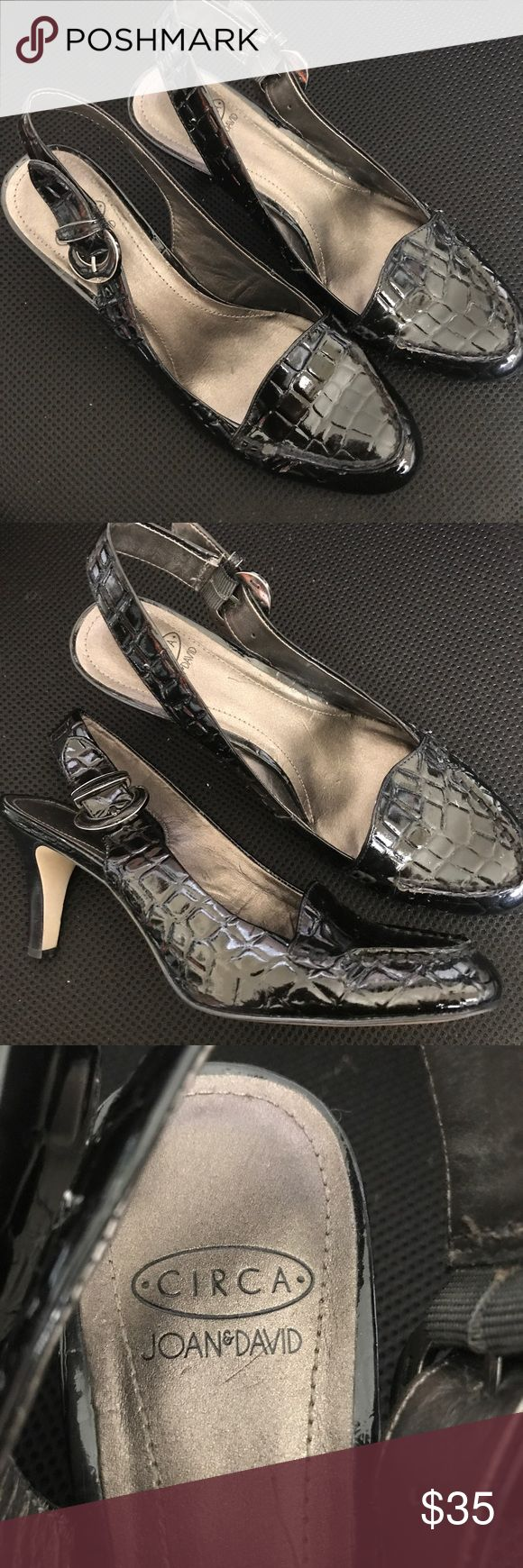 Joan David Circa Croc Black Patent Slingback Heels Joan David Circa Croc Black Patent Slingback Heels.  Looks new except the bottom of the shoe.  Wore a handful of times.  Size 8M. These are gorgeous for any professional, business attire. Joan & David Shoes Heels