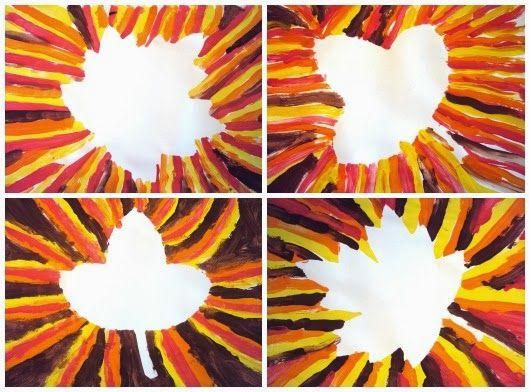 Herfst: bladeren  Dimensie: vlak  Vorm: ruimte, kleur, vorm, compositie Techniek: schilderen