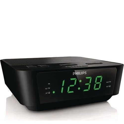wake up with radio or buzzerthis stylish philips clock radio looks nice and wakes you in time it has builtin fm radioand gives you a