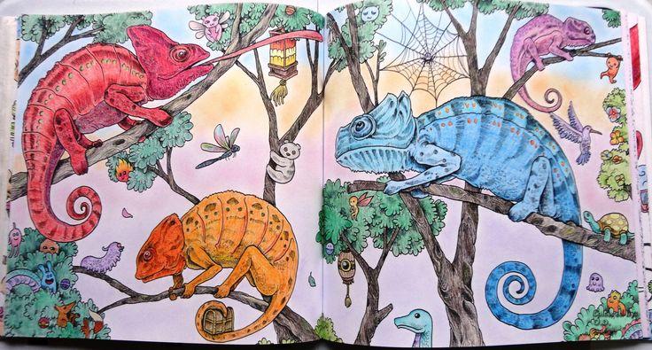 Animorphia - Kaméleonok Készült: Aihao Háttér: Colorino Artist Porpasztell  Animorphia - Chameleons Coloured with Aihao pencils Background: Colorino Artist Soft Pastels