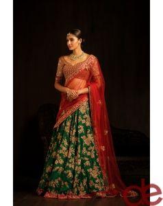 DE Superlative Green Heavy Designer Lehenga For Wedding