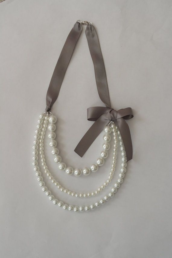 Pearl Necklace with Gray Ribbon by TheLittleLovesShop on Etsy, $28.00