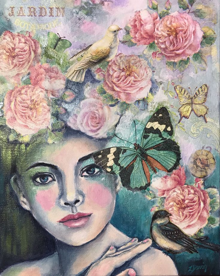 'Eve' mixed media piece on canvas by Zera Derrig