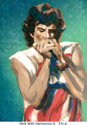Mick With Harmonica, painted by Ronnie Wood.