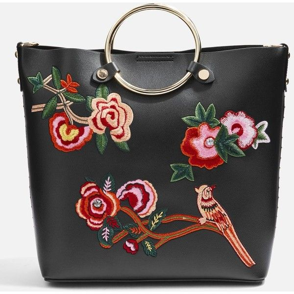 Topshop Spring Floral Embroidered Tote Bag ($40) ❤ liked on Polyvore featuring bags, handbags, tote bags, black, topshop handbags, topshop tote bag, topshop tote, pu handbag and handbags tote bags