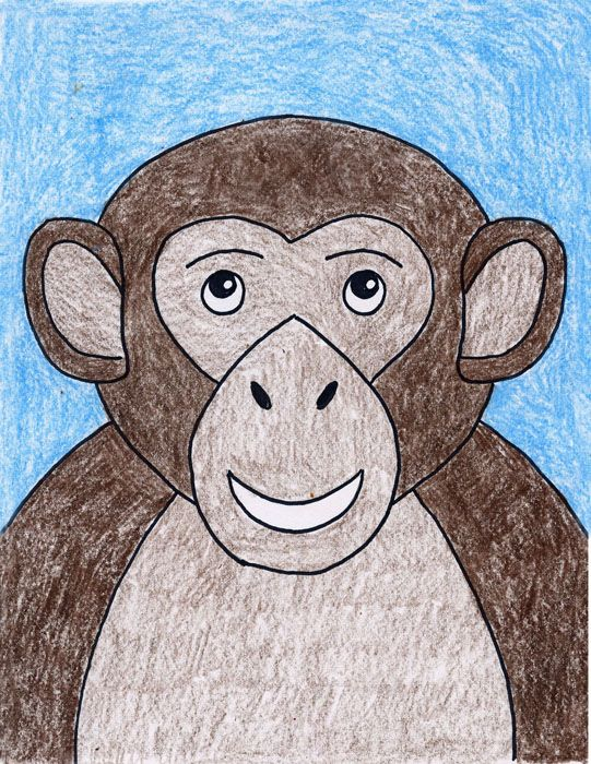 Art Projects for Kids | How to draw a Monkey. PDF tutorial available. #monkey #howtodraw