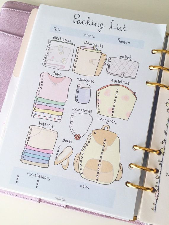 cute printable a5 page - printable packing list