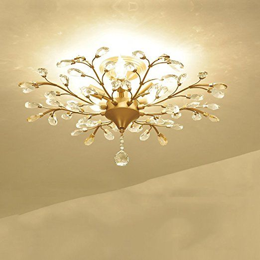 Nmpz Simple Crystal Ceiling Lamp Continental Hall Home