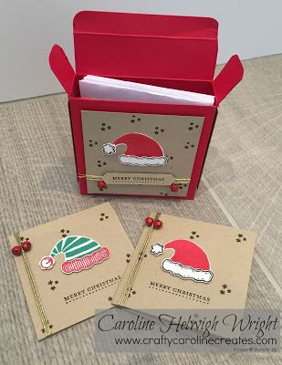 CraftyCarolineCreates: Jolly Friends 3 x 3 Card Gift Box, Video Tutorial using Stampin' Up products