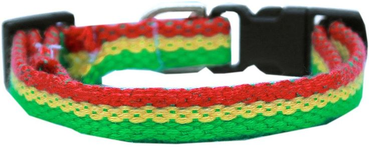 Jah Love Bamboo/Nylon Breakaway Cat Collar - green, gold, and red