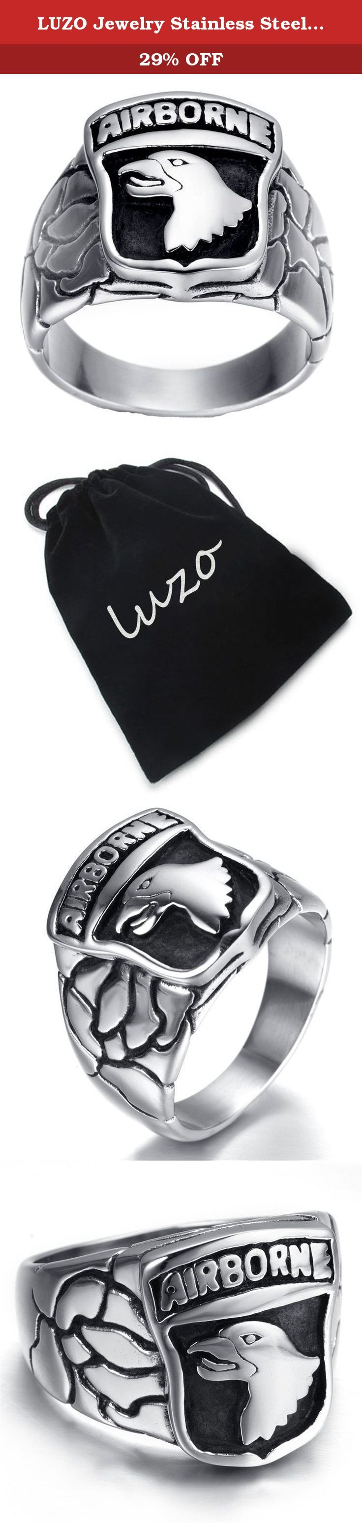 LUZO Jewelry Stainless Steel 101st AIRBORNE Divisions Screaming Eagle US Army Military Ring. Why choose Stainless Steel Jewelry? Stainless Steel jewelry does not tarnish and oxidize, which can last longer than other jewelries. It is able to endure a lot of wear and tear. And it is amazingly hypoallergenic. Such advantages make it a more popular accessory.