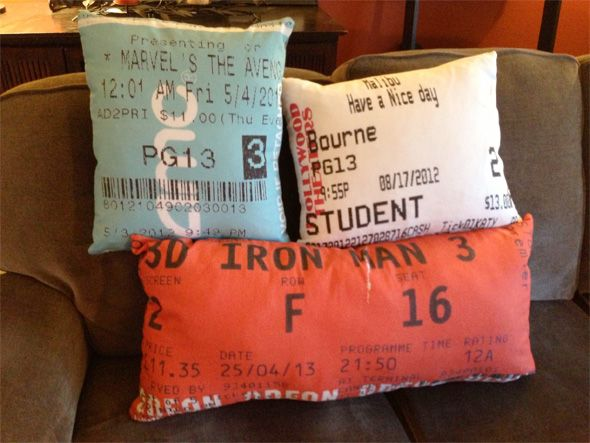 I want to do this so bad! pillows from movie tickets, our disney tickets from our honeymoon, the sentimental possibilities are endless!