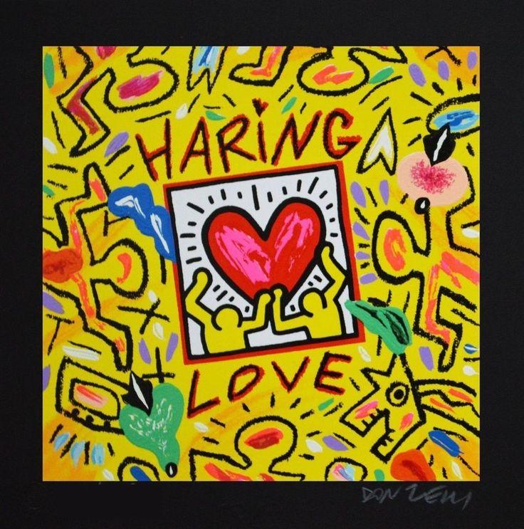 DONZELLI BRUNO - Haring Love - Serigrafia polimaterica 25 x 25 cm sfondo nero