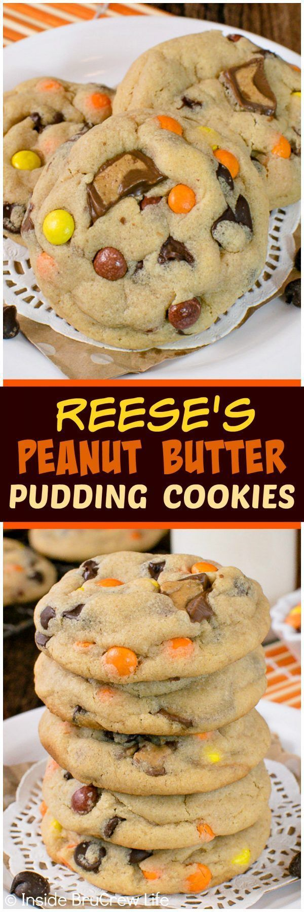Reese's Peanut Butter Pudding Cookies - this soft and chewy cookie recipe is loaded with chocolate and candy!  Great dessert to fill the cookie jar with! (Mix)