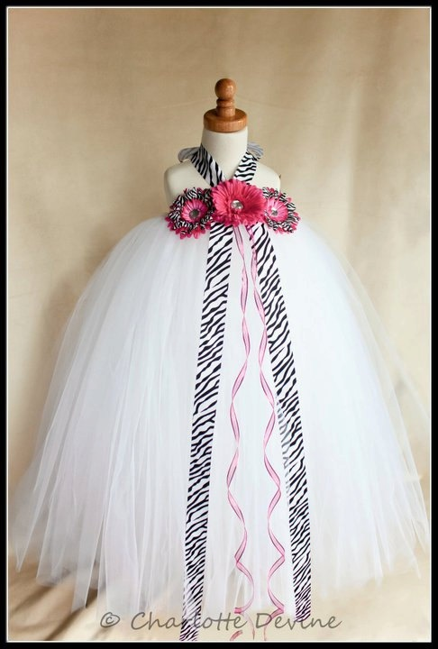 Flower Girl Zebra Tutu Dress