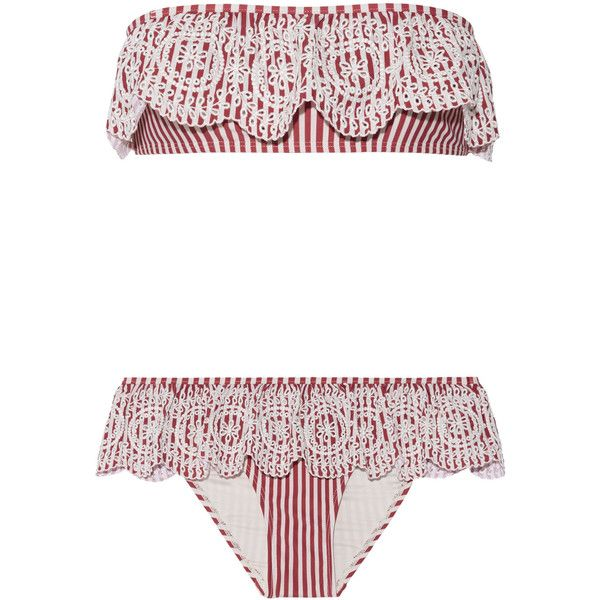 Zimmermann Meridian broderie anglaise striped bandeau bikini ($325) ❤ liked on Polyvore featuring swimwear, bikinis, bandeau tops, frilly bikini, bandeau swimwear, bandeau bikinis and low rise bikini