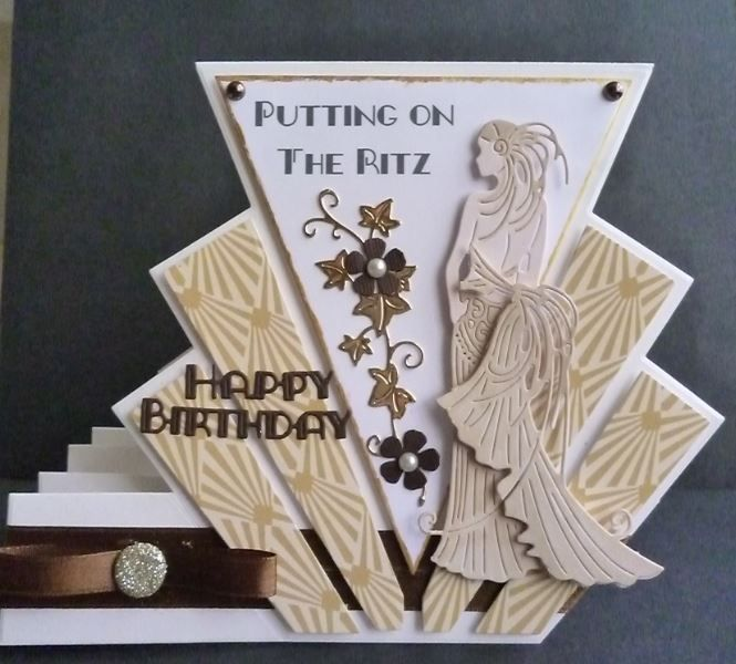 Card made using the stepper die with the Glitz and Glam Clara Die
