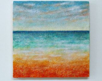 """Large Encaustic Painting-Original Abstract Landscape Seascape - 24"""" X 24"""" - Highly Textured Beeswax Painting-Encaustic Art- Minimal Painting"""