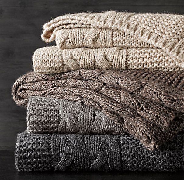 Italian Wool & Alpaca Cable Knit Throws from Restoration Hardware. Oh, I could use one of these in a neutral color.