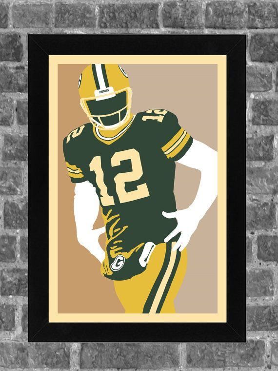 Green Bay Packers Aaron Rodgers Portrait Sports by FanFourLife                                                                                           More