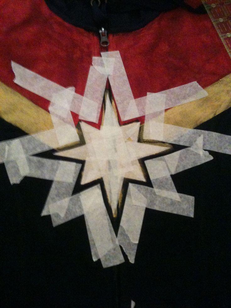 "shinykari: "" Carol Danvers/Captain Marvel Hoodie project! Materials: • Navy…"