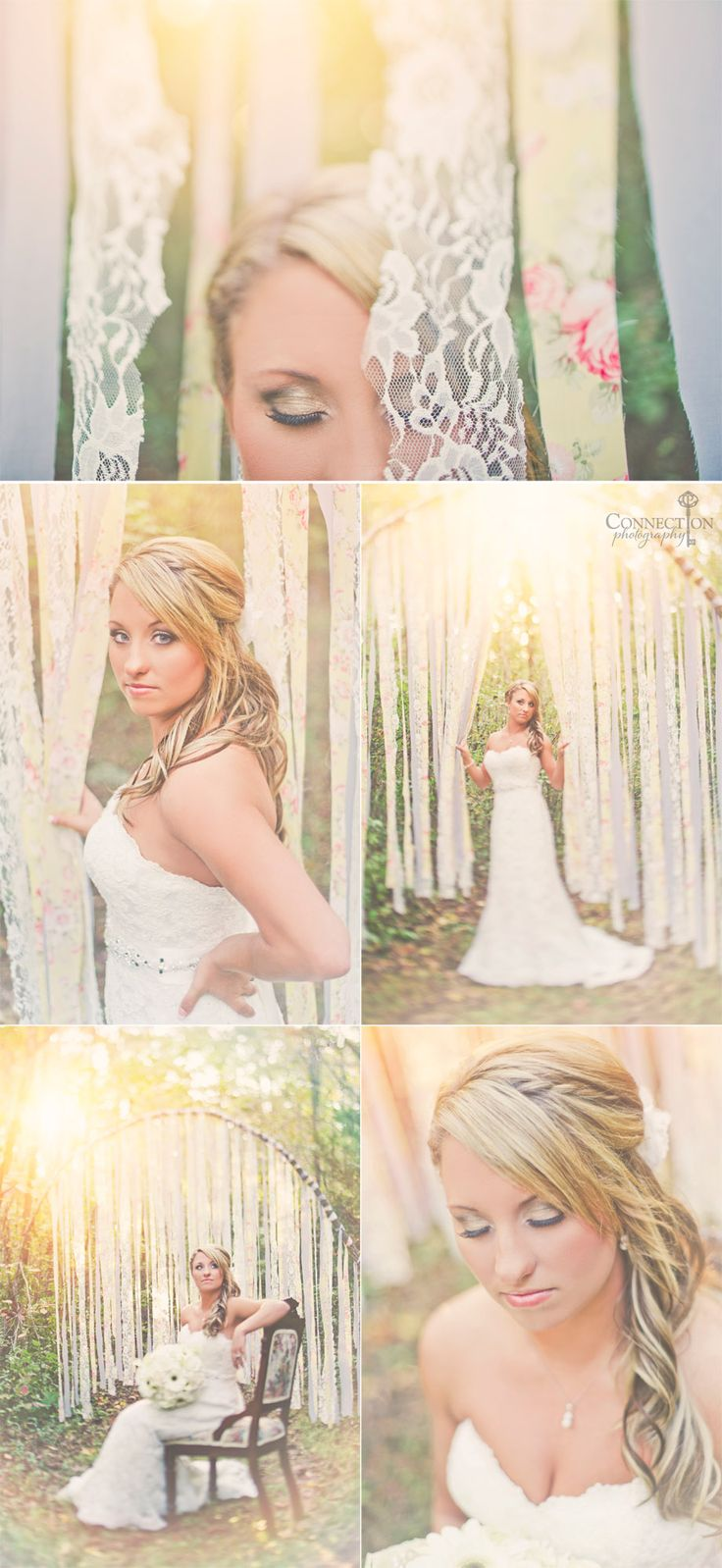 Lace and fabric backdrop.  Stunning.  Use as a backdrop for the ceremony and/or wedding photo booth.