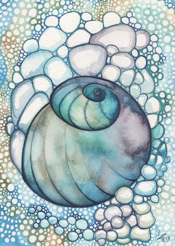 Snail Sea Shell 5 x 7 print of detailed watercolour in beautiful aqua turquoise blue green purple violet bubbles shore ocean marine