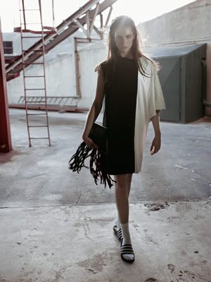 Two Sided Dress SS14 with Pony Fringe Clutch